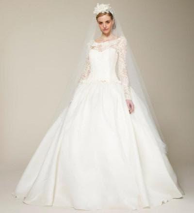 свадебное платье с кружевным верхом от Marchesa