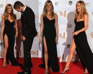 черное длинное платье с разрезом на ноге