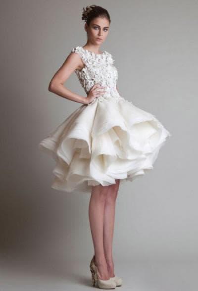 свадебное платье трансформер с прикрепленной юбкой ниже колен