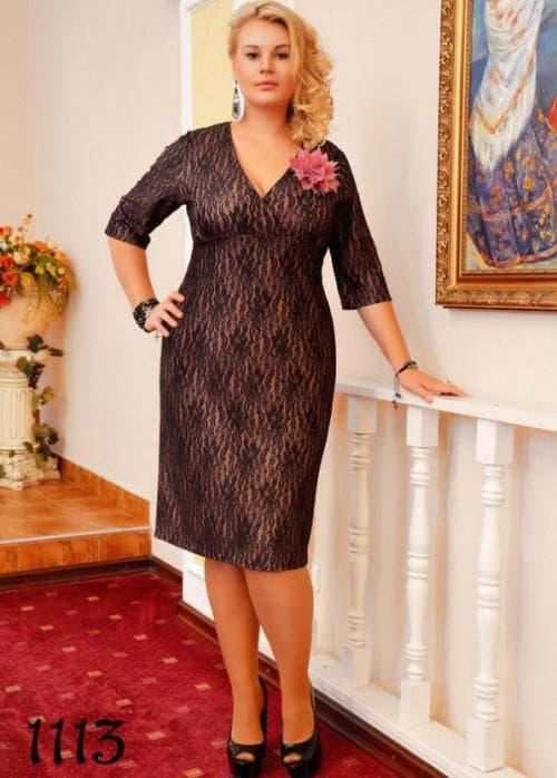 платье модель с рукавом ¾ для полных