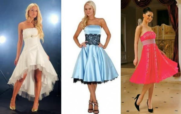 платье с косым или пышным подолом на свадьбу гостье