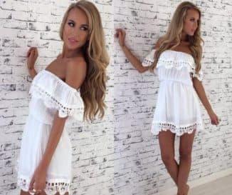 белое короткое платье с кружевами