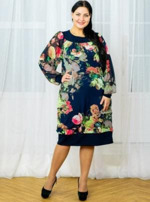 платье А силуэт большого размера