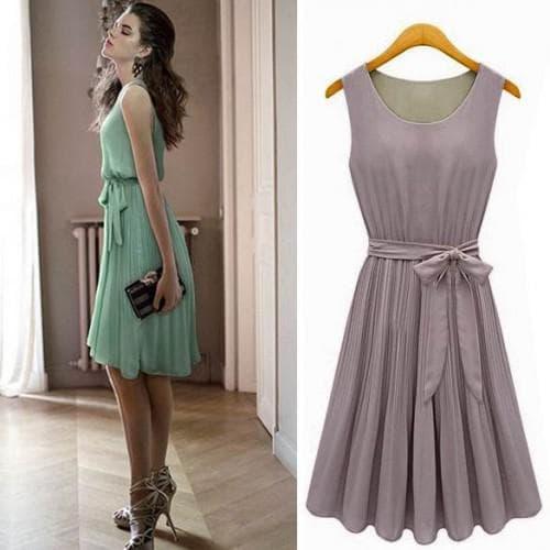 летние платья для офиса с плиссированными деталями