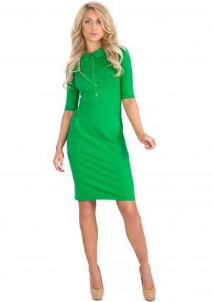 летние платья для офиса зелёного цвета