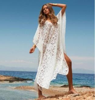 белое кружевное летнее платье