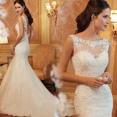 свадебные платья рыбка с кружевами сверху