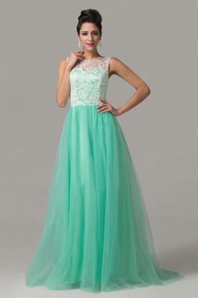 свадебное платье мятного цвета с кружевом сверху