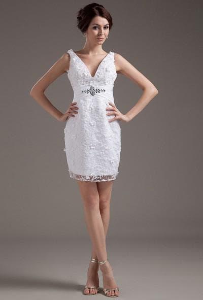 короткое свадебное платье с кружевом на декольте