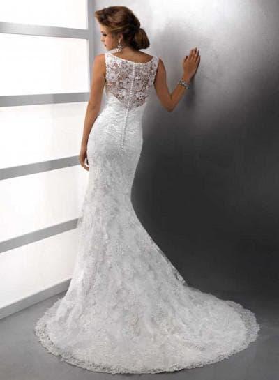 свадебное платье рыбка с кружевами