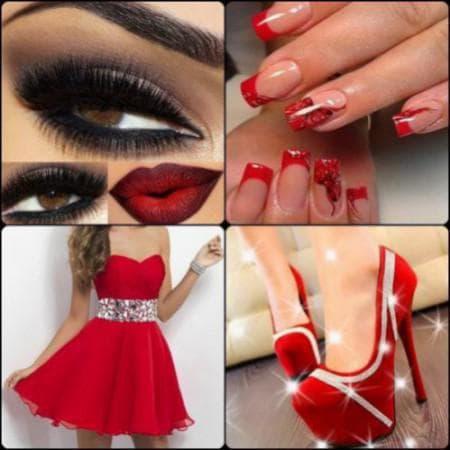 маникюр для красного платья