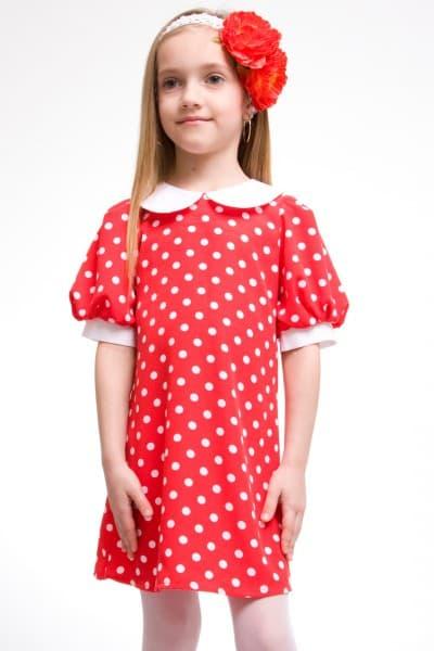 красное платье-туника в белый горошек для девочки