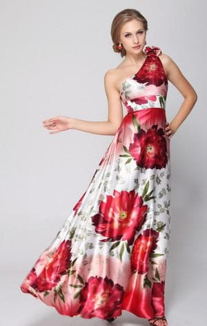 платье с цветами из атласа