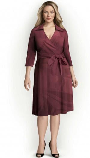 платье с запахом для полных из трикотажа