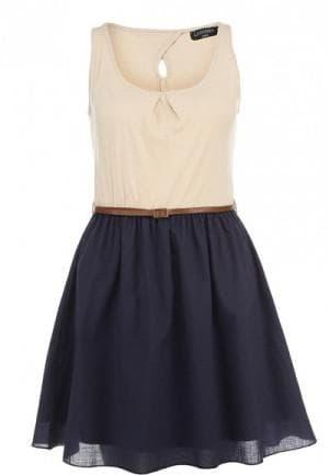 комбинация синего и бежевого цвета в платье