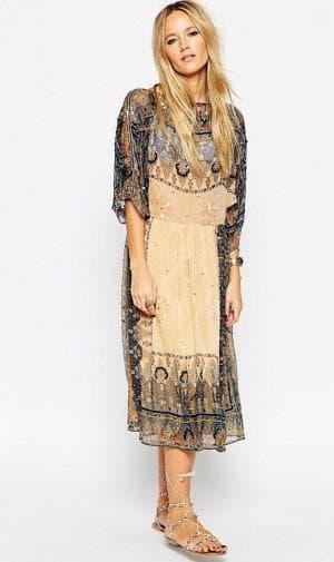 платье бохо с бисерной отделкой