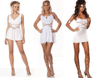 белое короткое платье в греческом стиле для дам