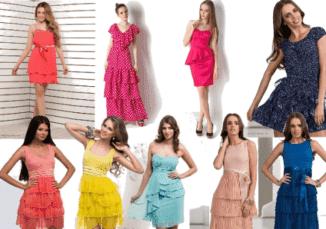 платья с рюшами и воланами для дам
