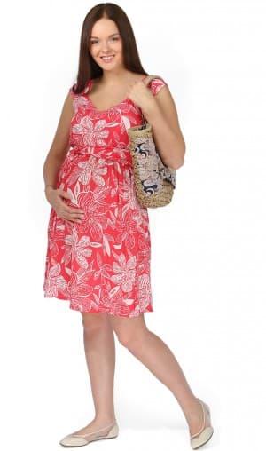 сарафан красного цвета для беременной на лето