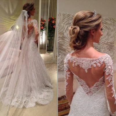 свадебное платье с вырезом на спине от Murad