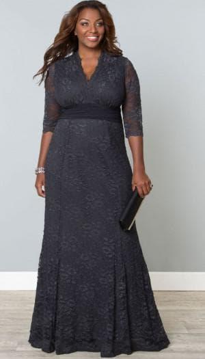 длинное нарядное кружевное платье для полных женщин