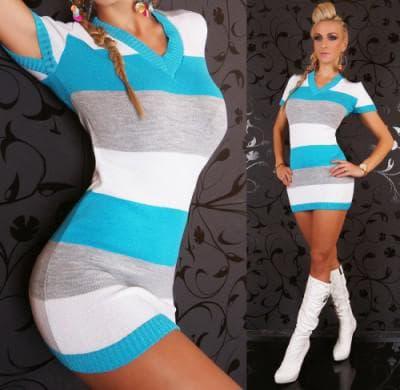 спортивное трикотажное мини платье без рукавов