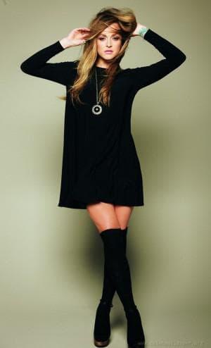 короткое чёрное тёплое платье для девочки