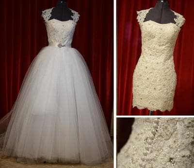 пышное свадебное платье трансформер с кружевами