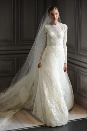 свадебные платья с длинным рукавом от Monique Lhuillier