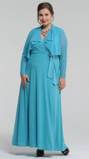 длинное нарядное платье с болеро для полных женщин