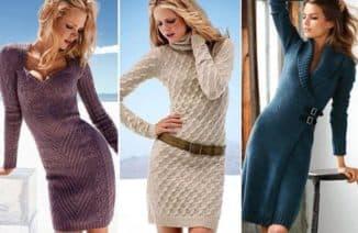 теплое платье вязаное