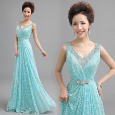 бирюзовое кружевное платье в пол