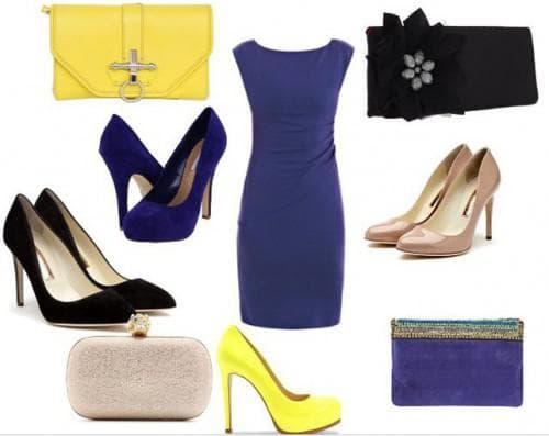 синее платье и обувь