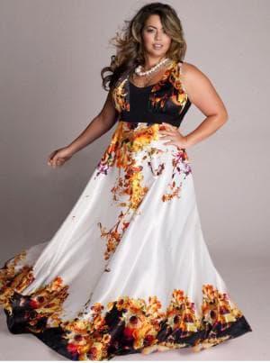 платья в пол с принтом для полных