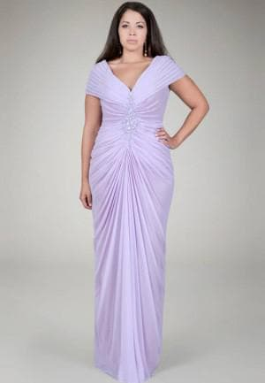 длинное нарядное платье с драпировкой для полных женщин