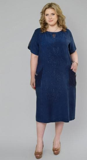 джинсовое платье футляр большого размера