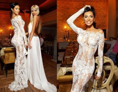 белое кружевное платье в пол