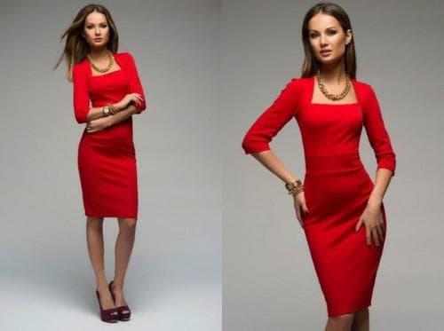 повседневный наряд красного цвета с рукавами 3 четверти