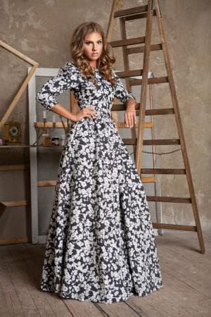 платье с цветами из тафты