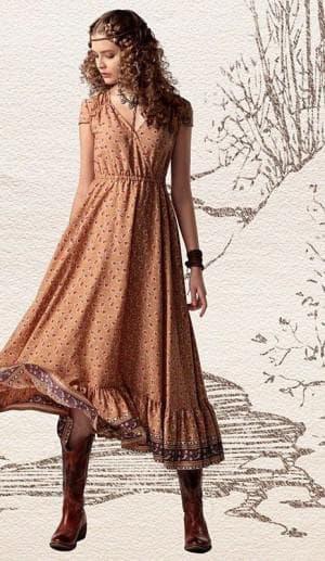 платье бохо со складками