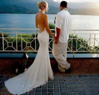 свадебные платья из кружева с открытой спиной