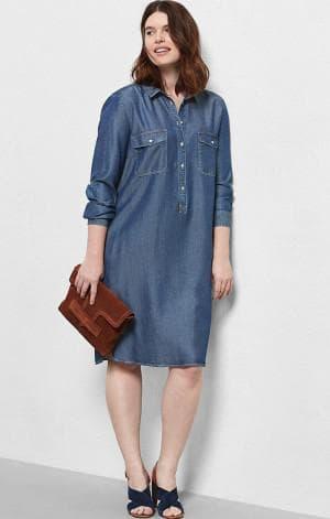 джинсовое платье рубашка большого размера