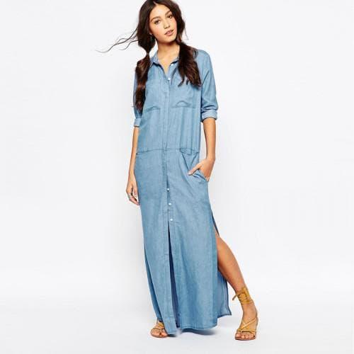 джинсовое платье в пол