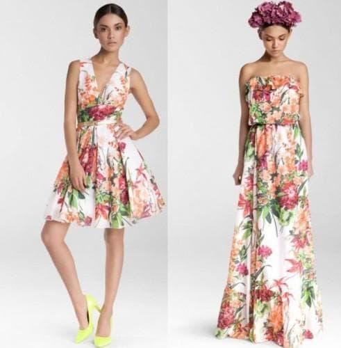 летнее платье с цветным принтом