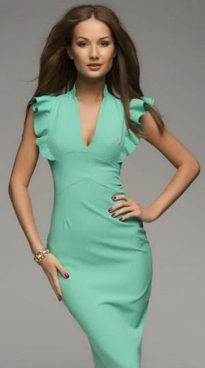 платье с воланами на плечах от 1001 Dress