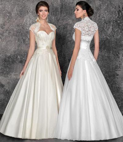 венчальное платье цвета шампанского