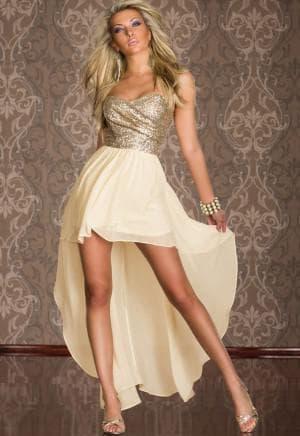 асимметричное платье с открытыми ногами с высокой юбкой