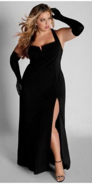 обтягивающее платье в пол с оголённой спиной для полных