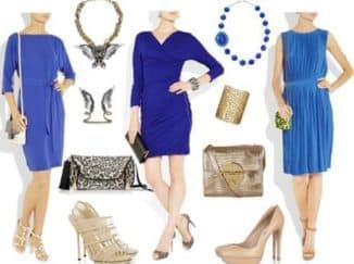 ярко синее платье с чем носить