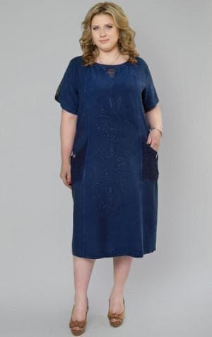 джинсовое платье с кружевом большого размера